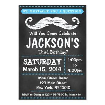 Chalkboard Mustache Birthday Party Invitation