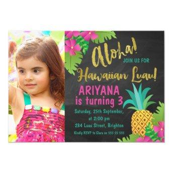 Chalkboard Photo Hawaiian Luau Birthday Invitation