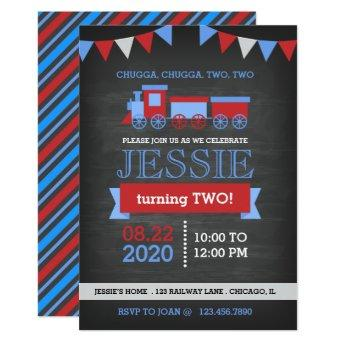 Chalkboard Red and Blue Train Birthday Invitation