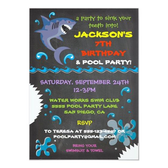 Chalkboard Shark Pool Birthday Party Invitation