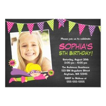 Chalkboard Superhero Girl Photo Birthday Party Invitation
