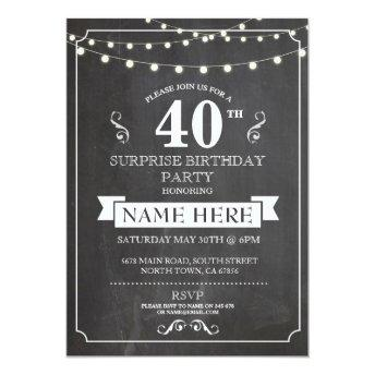 Chalkboard Surprise  Party 40th Invite