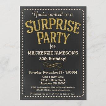 Chalkboard Surprise Party Invitation Man or Woman