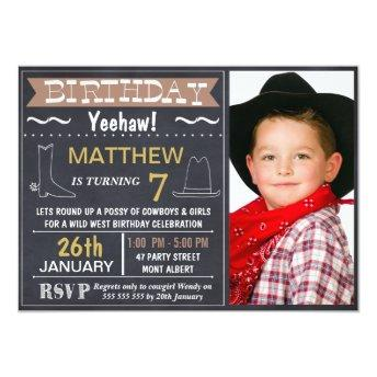 Chalkboard Wild West Photo Birthday