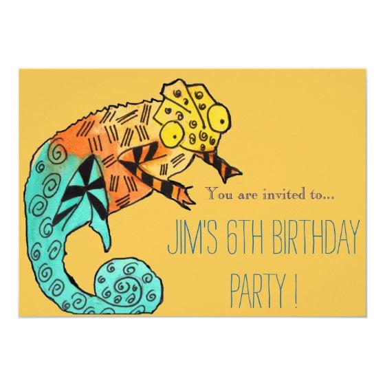 Chameleon Reptile Illustration Boy Birthday Party Invitation