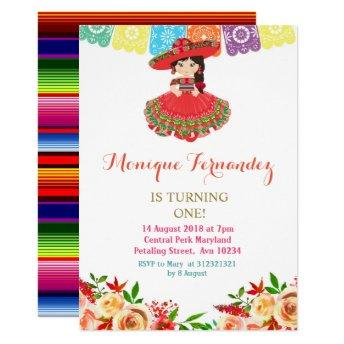 Charra Mexican Birthday Invitation Girl