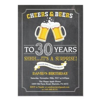 Cheers and Beers 30th Birthday Invitation
