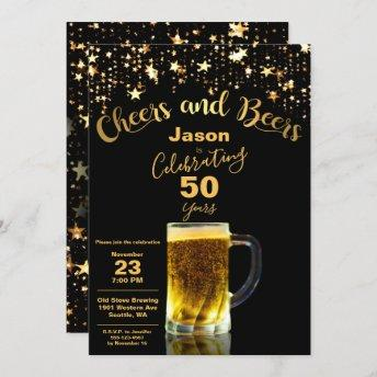 Cheers and Beers 50th Birthday Party Invitation