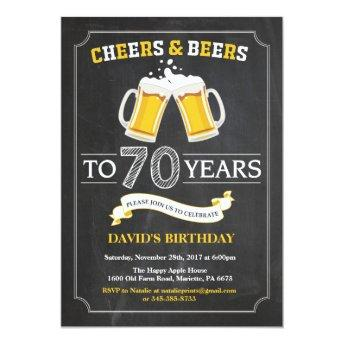 Cheers and Beers 70th Birthday Invitation