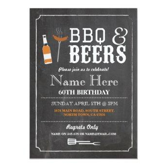 Cheers & Beers BBQ Birthday Party 30th 60th Invite