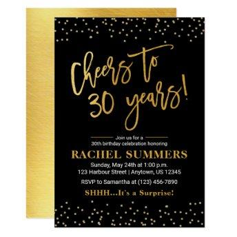 Cheers to 30 Years Black & Gold Adult Birthday Invitation