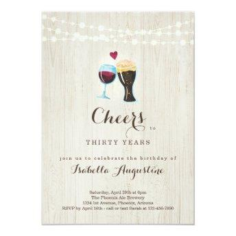 Cheers Wine & Beer Birthday Party - Any Age Invitation
