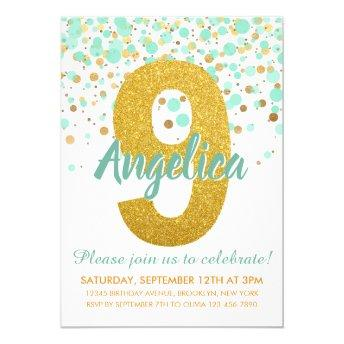 Chic 9th Birthday Mint Green Gold Glitter Confetti Invitation