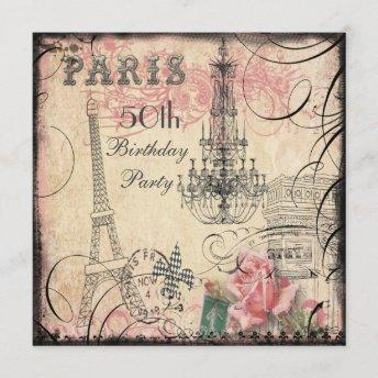 Chic Eiffel Tower & Chandelier 50th Birthday Invitation