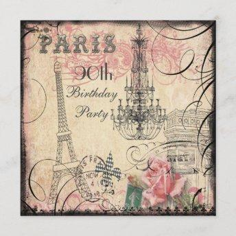 Chic Eiffel Tower & Chandelier 90th Birthday Invitation