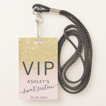 Chic gold glitter typography blush Sweet 16 VIP Badge