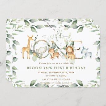 Chic Jungle Animals Greenery 1st Birthday Wild One Invitation
