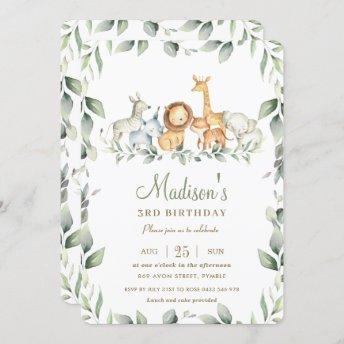 Chic Jungle Animals Greenery Birthday Boy Girl Invitation