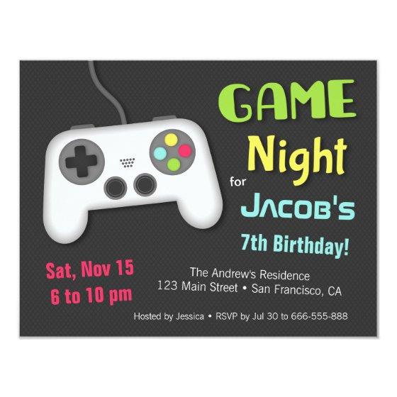 Chill Boys Video Game Night Birthday Party Invitation