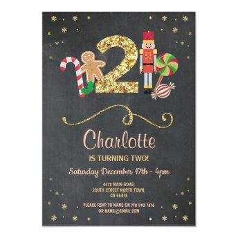 Trending Birthday Party Invitations Christmas 2nd Two Holidays Chalk Invite