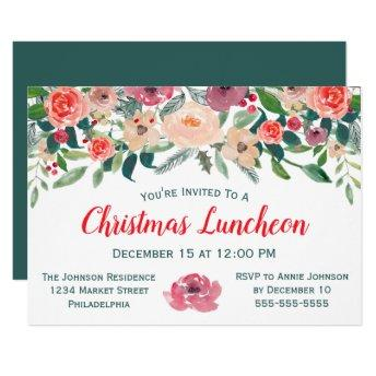 Christmas Luncheon Event Winter Florals Invitation