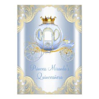 Cinderella Blue Gold Princess Quinceanera Invitation