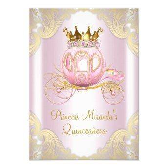 Cinderella Pink Gold Princess Quinceanera Invitation