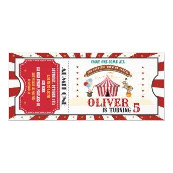 Circus birthday invitation Vintage Carnival ticket