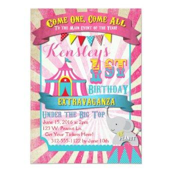 Circus Invitation Pink and Turquoise