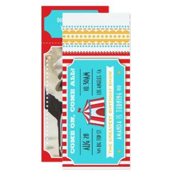 Circus Party Ticket Kids Party add photo Invitation