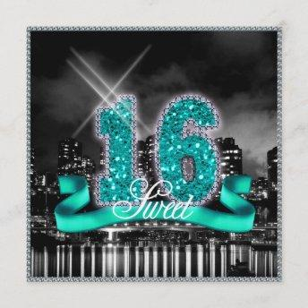 City Lights Sweet Sixteen Teal ID120 Invitation