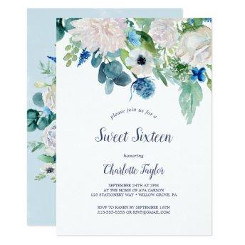 Classic White Flowers Sweet Sixteen Birthday Party Invitation