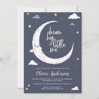 Clouds, moon & star birthday party invitation