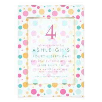 Colorful Girly Polka Dots Child Birthday Party