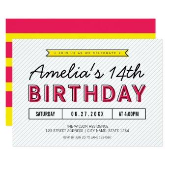 Colorful Pink and Yellow Any Age Modern Birthday