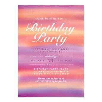 Colorful Pink Sunset Birthday Party Invite