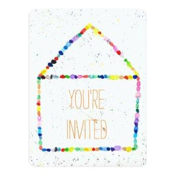 Colorful WaterColor house 'You're Invited' Invitation