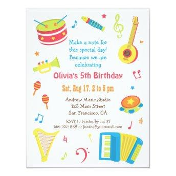 Colourful Music Instruments Kids Birthday Party