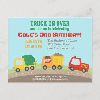 Colourful Truck Boys Birthday Party Invitation