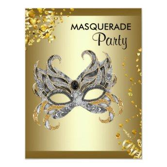 Confetti Mask Silver and Gold Masquerade Party Invitation