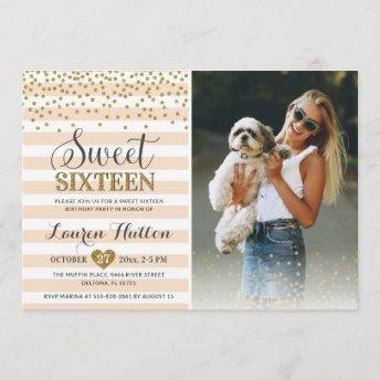 Confetti Sweet Sixteen 16th Birthday Party Photo Invitation