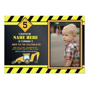 Construction Building Digger Truck Birthday Party Invitation