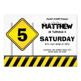 Construction Dump Everything Birthday Invitation