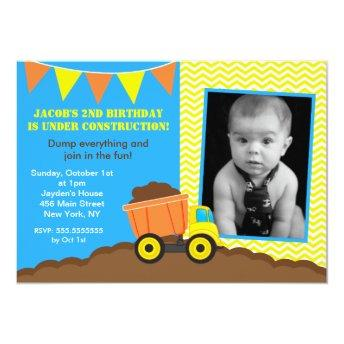 Construction Dump Truck Photo Birthday Invitation