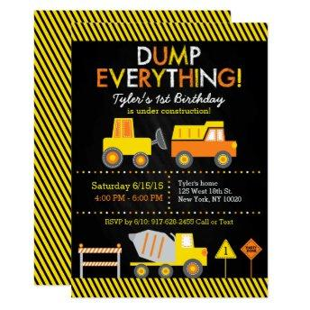 Construction Truck Chalkboard 1st Birthday Invitation