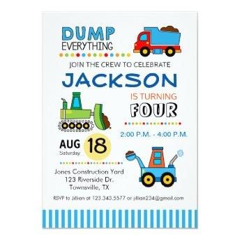Construction Trucks Birthday Party Invitation