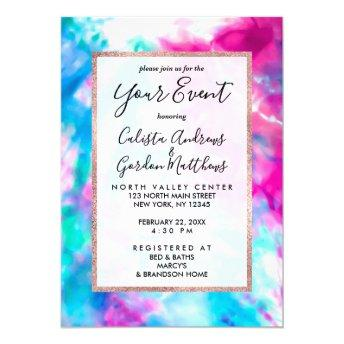 Cool Artsy Girly Purple Pink Blue Tie Dye Pattern Invitation