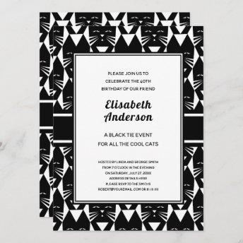 Cool Cats Black Tie Birthday Party Funny Invites