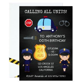 Cops and Robbers Birthday Chalkboard add photo