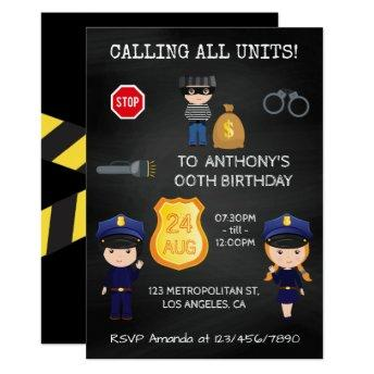 Cops and Robbers Birthday Chalkboard